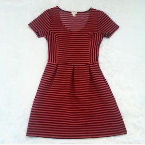 J. Crew Red Striped Ponte Dress